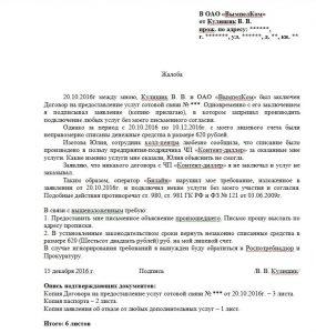 Пример составления жалобы в Роскомнадзор